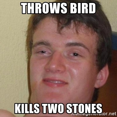 really high guy - Throws bird Kills two stones