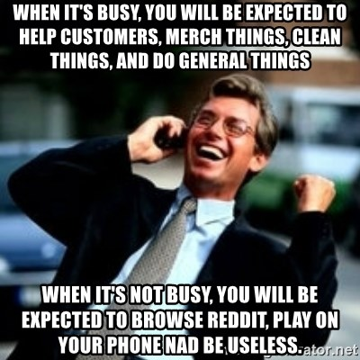HaHa! Business! Guy! - when it's busy, you will be expected to help customers, merch things, clean things, and do general things when it's not busy, you will be expected to browse reddit, play on your phone nad be useless.