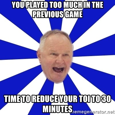 Crafty Randy - you played too much in the previous game time to reduce your toi to 30 minutes