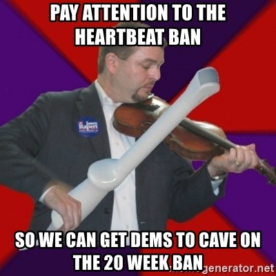 FiddlingRapert - pay attention to the heartbeat ban so we can get dems to cave on the 20 week Ban