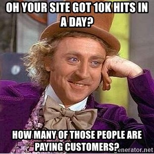 Willy Wonka - Oh your site got 10k hits in a day? how many of those people are paying customers?