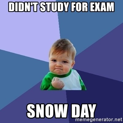 Success Kid - Didn't study for exam Snow day