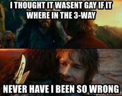 Never Have I Been So Wrong - I thought it wasent gay if it where in the 3-way Never have i been so wrong