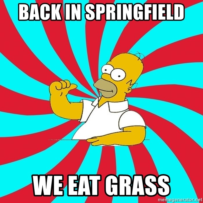 Frases Homero Simpson - BACK IN SPRINGFIELD WE EAT GRASS