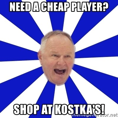 Crafty Randy - need a cheap player? shop at kostka's!