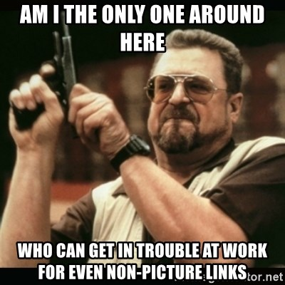 am i the only one around here - aM I THE ONLY ONE AROUND HERE WHO CAN GET IN TROUBLE AT WORK FOR EVEN NON-PICTURE LINKS