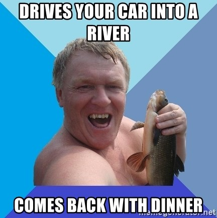 YAAZZ - drives your car into a river  comes back with dinner