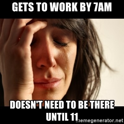 crying girl sad - gets to work by 7am doesn't need to be there until 11
