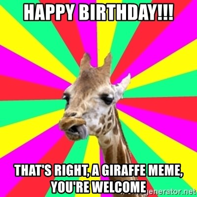 Gentrification Giraffe - Happy Birthday!!! That's right, a giraffe meme, you're welcome