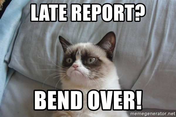 Grumpy cat good - Late report? Bend over!