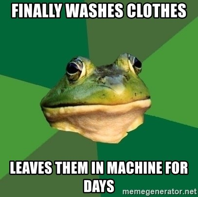 Foul Bachelor Frog - finally washes clothes Leaves them in Machine for Days