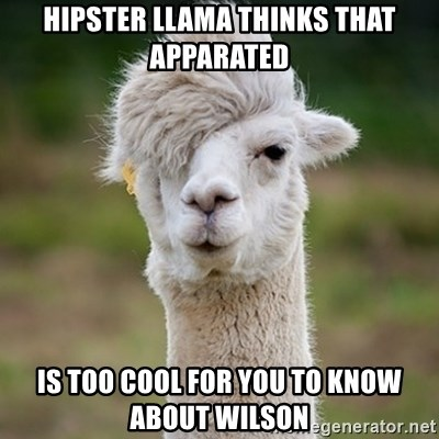 Hipster Llama - hipster llama thinks that apparated is too cool for you to know about wilson