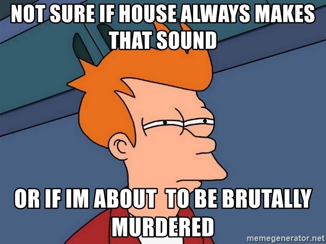 Futurama Fry - NOT SURE IF HOUSE ALWAYS MAKES THAT SOUND OR IF IM ABOUT  TO BE BRUTALLY MURDERED