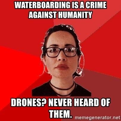 Liberal Douche Garofalo - waterboarding is a crime against humanity drones? never heard of them.