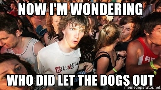 Sudden Realization Ralph - now I'm wondering who did let the dogs out