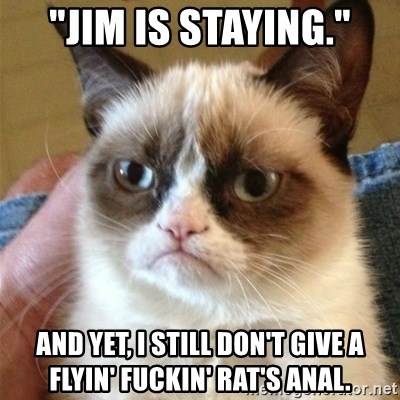 "Grumpy Cat  - ""Jim is staying."" and yet, I still don't give a flyin' fuckin' rat's anal."