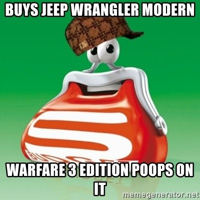 Scumbag Spar - buys jeep wrangler modern warfare 3 edition poops on it