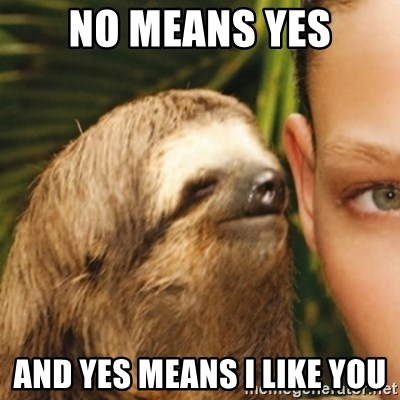 Whispering sloth - nO MEANS YES and yes means i like you