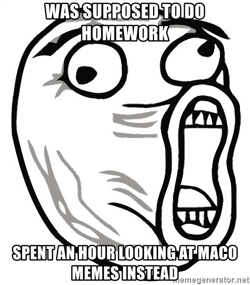 Lol Guy - WAs supposed to do homework spent an hour looking at maco memes instead