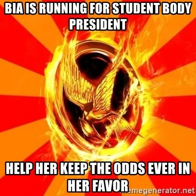 Typical fan of the hunger games - Bia is running for student body president help her keep the odds ever in her favor