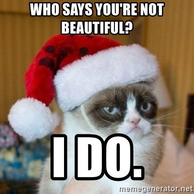 Grumpy Cat Santa Hat - Who says you're not beautiful?  I do.