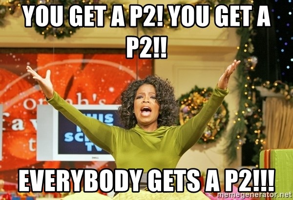 Oprah Gives Away Stuff - you get a p2! you get a p2!! everybody gets a p2!!!