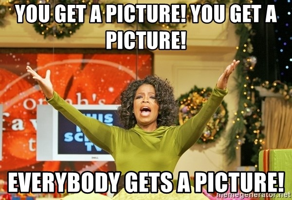 Oprah Gives Away Stuff - You get a Picture! You get a picture! Everybody gets a picture!