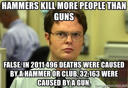 Dwight Schrute - HAMMERS KILL MORE PEOPLE THAN GUNS fALSE. iN 2011 496 DEATHS WERE CAUSED BY A HAMMER OR CLUB, 32,163 WERE CAUSED BY A GUN.