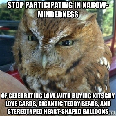 Overly Angry Owl - STOP PARTICIPATING IN NAROW-MINDEDNESS OF CELEBRATING LOVE WITH BUYING Kitschy love cards, gigantic teddy bears, and stereotyped heart-shaped balloons