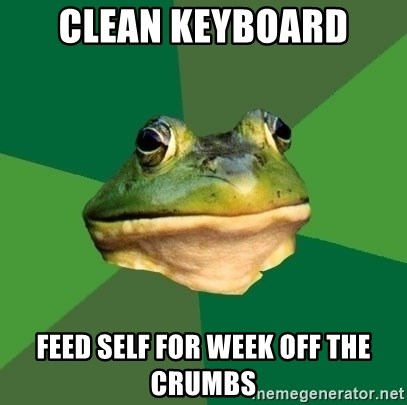 Foul Bachelor Frog - clean keyboard feed self for week off the crumbs