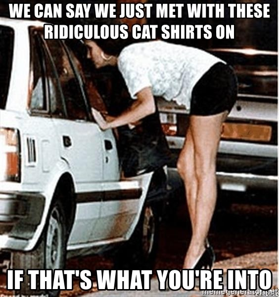 Karma prostitute  - WE CAN SAY WE JUST MET WITH THESE ridiculous cat shirts on if that's what you're into
