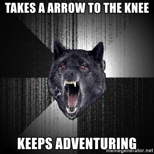 flniuydl - Takes a arRow to the knee Keeps adventuring