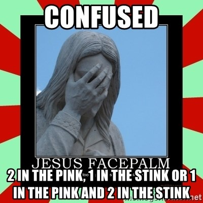 Jesus Facepalm - COnfused 2 in the pink, 1 in the stink or 1 in the pink and 2 in the stink