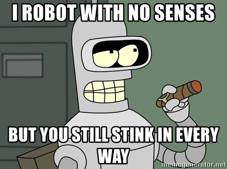 Bender - I ROBOT WITH NO SENSES  BUT YOU STILL STINK IN EVERY WAY