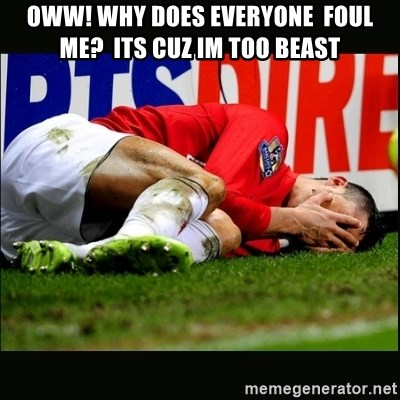 cristiano ronaldo crying - oww! why does everyone  foul me?  its cuz im too beast