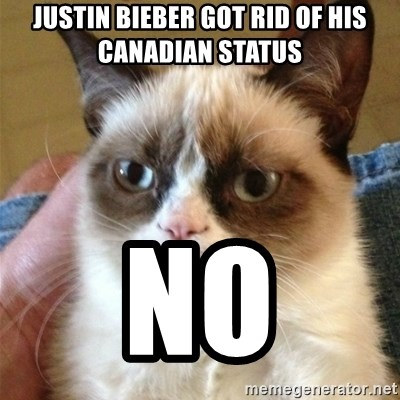 Grumpy Cat  - justin bieber got rid of his canadian status no