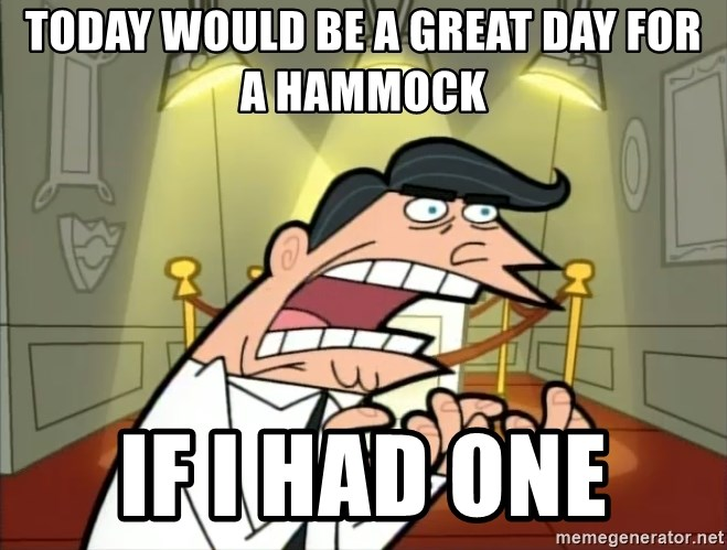 Timmy turner's dad IF I HAD ONE! - Today would be a great day for A hammock  If I had one