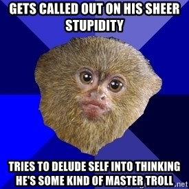MRA Marmoset - gets called out on his sheer stupidity TRIES TO DELUDE SELF INTO THINKING HE'S SOME KIND OF MASTER TROLL
