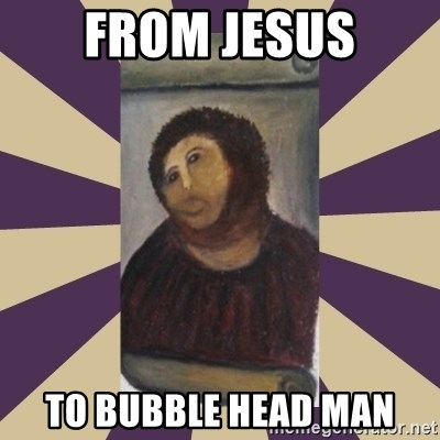 Retouched Ecce Homo - From Jesus to bubble head man