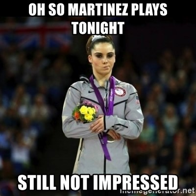 Unimpressed McKayla Maroney - oh so martinez plays tonight still not impressed