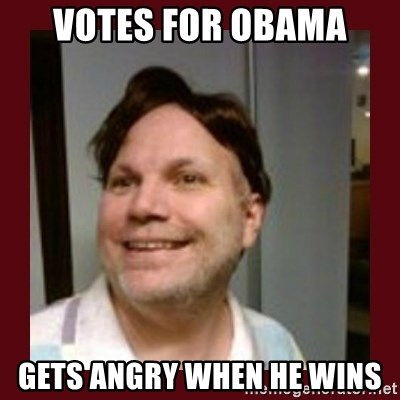 Free Speech Whatley - votes for obama gets angry when he wins