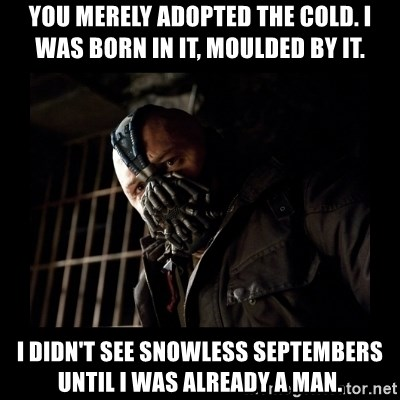 Bane Meme - You merely adopted the cold. I was born in it, moulded by it. I didn't see snowless septembers until i was already a man.