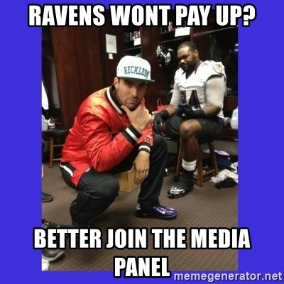 PAY FLACCO - ravens wont pay up? better join the media panel