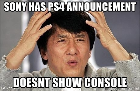 Confused Jackie Chan - Sony has ps4 announcement Doesnt show console