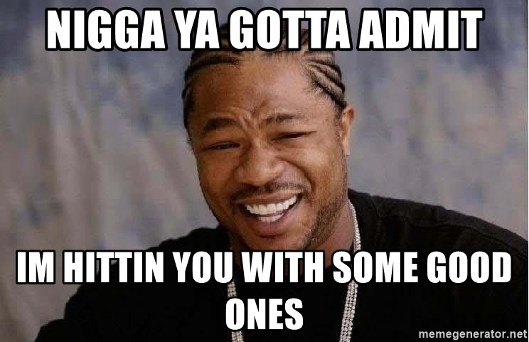 Yo Dawg - nigga Ya gotta admit im hittin you witH some good Ones