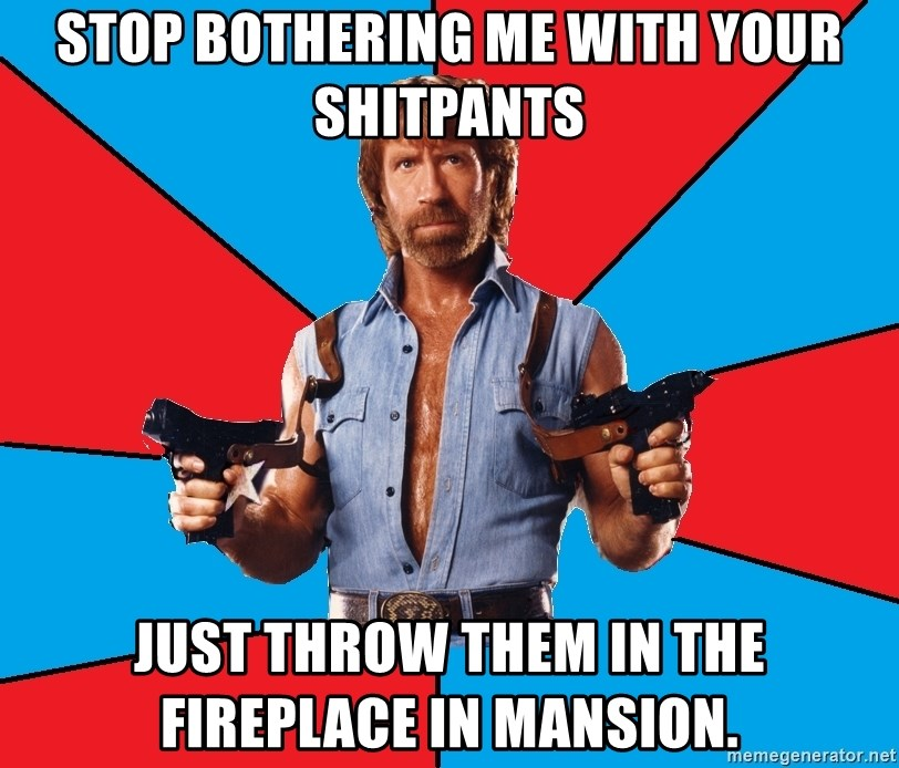 Chuck Norris  - STOP BOTHERING ME WITH YOUR SHITPANTS JUST THROW THEM IN THE FIREPLACE IN MANSION.