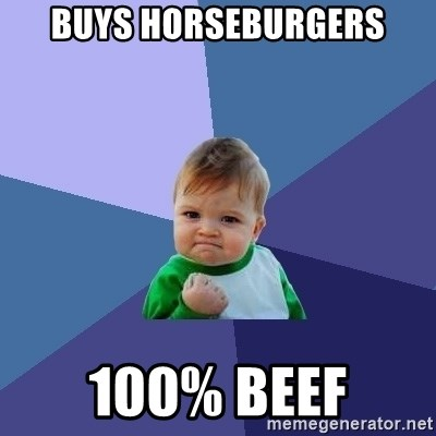 Success Kid - buys horseburgers 100% beef