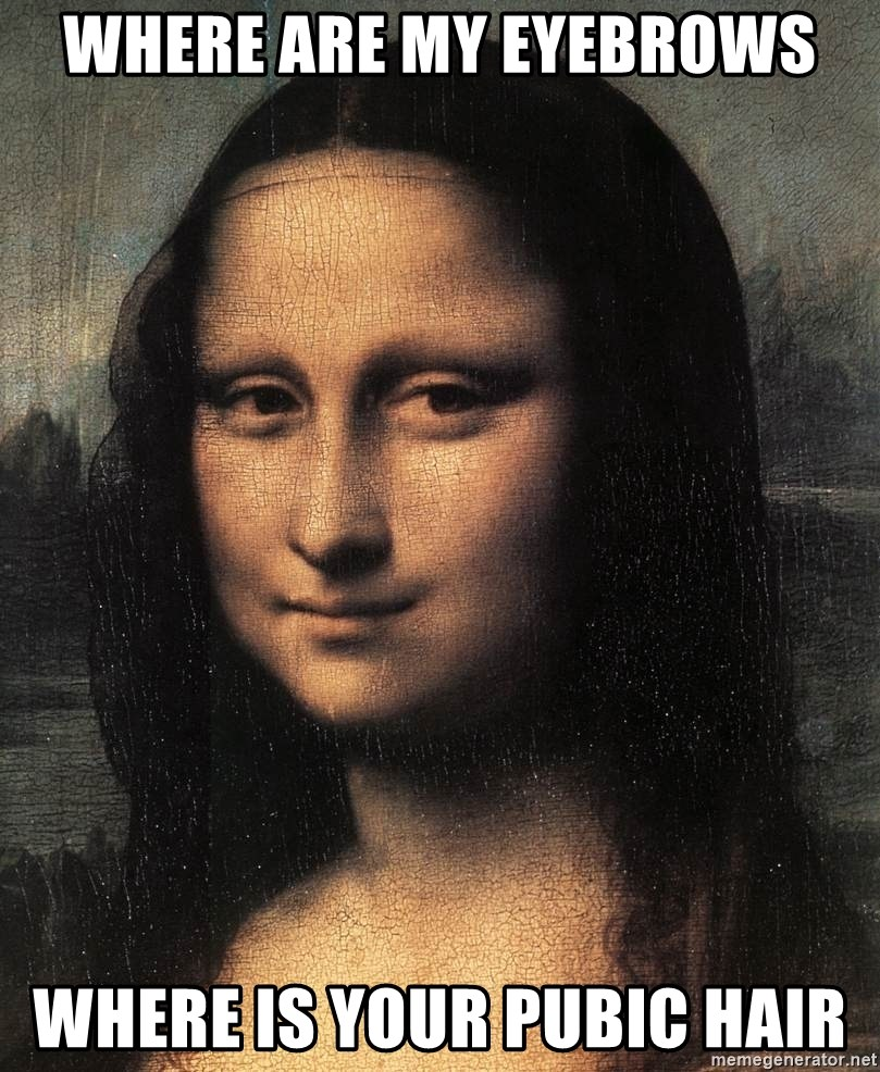 Where are my eyebrows where is your pubic hair the mona lisa meme generator