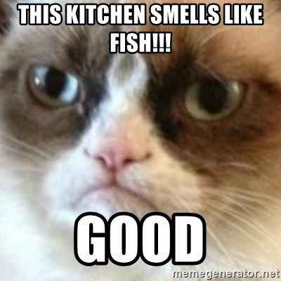 This kitchen smells like fish!!! good - angry cat asshole | Meme