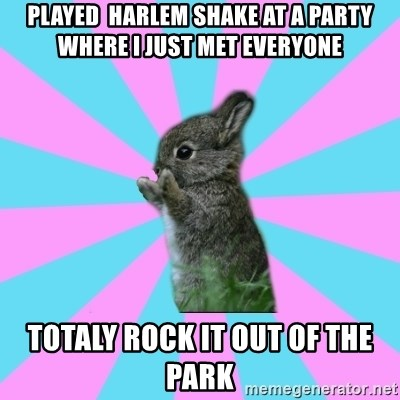 yAy FoR LifE BunNy - played  harlem shake at a party where i just met everyone totaly rock it out of the park